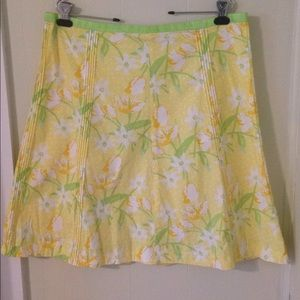 Yellow and Green Floral Skirt.